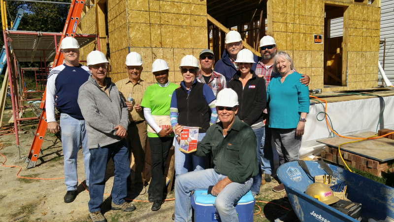 Cambridge Rotary Club joins forces with Choptank Habitat for Humanity to raise the walls on the second floor of a house being build in Cambridge.