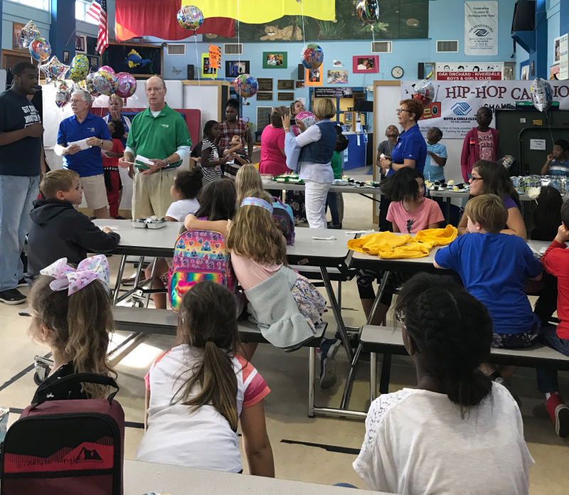 Long Neck Sunrise Rotary Club focuses much of its community service on projects serving the youth of the greater Long Neck Community. Featured here is a photo from the September Birthday Bash for the Boys and Girls Club of Oak Orchard, a program wher