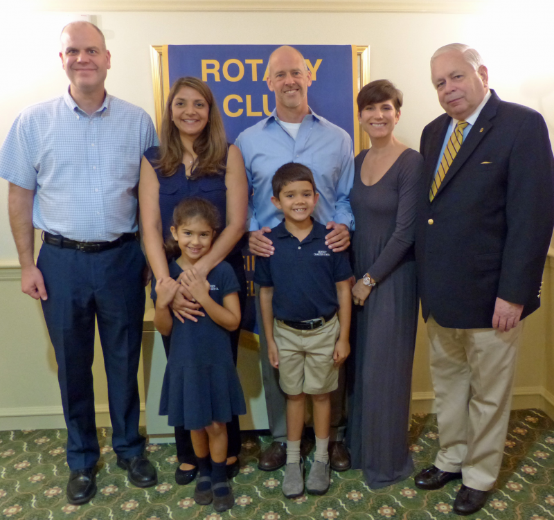 We have a Student Recognition program at Hockessin-Greenville in connection with the Odyssey Charter School in Wilmington.  Student Sean Corrigan is shown with his family and club president Charles Emely.