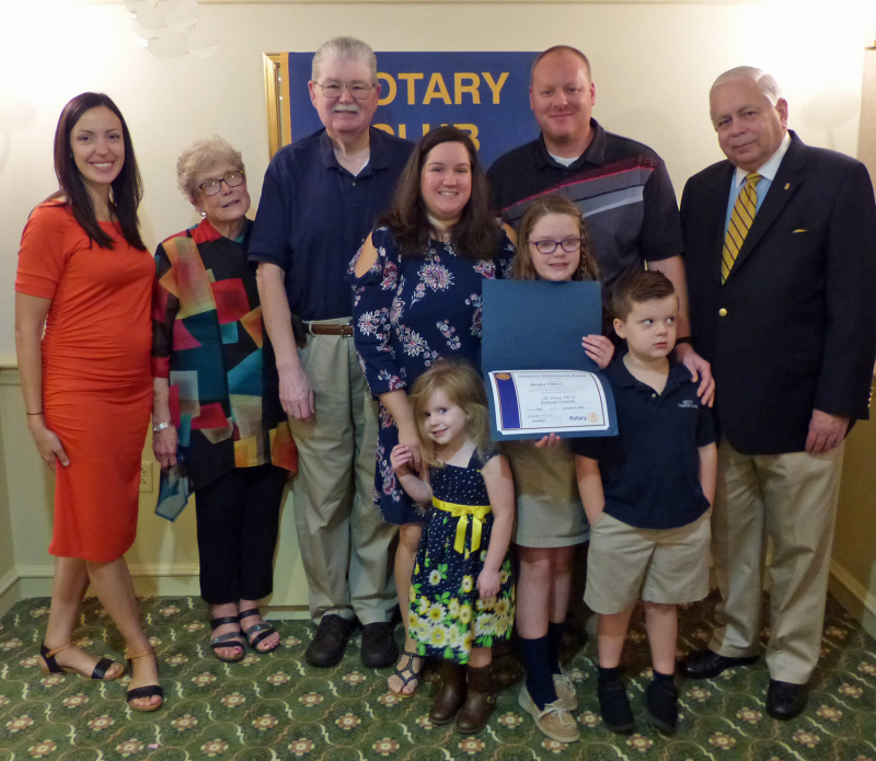 We have a Student Recognition program at Hockessin-Greenville in connection with the Odyssey Charter School in Wilmington.  Student Haylee Tibbits is shown with her family and club president Charles Emely.